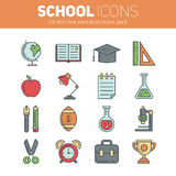 A set of school thin lined flat icons with education elements Royalty Free Stock Photography