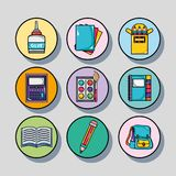 Set school tools design to study and learn royalty free illustration