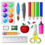 Set of School Tools and Supplies Stock Photos