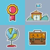 Set school tools to learn and teach. Vector illustration Stock Photography