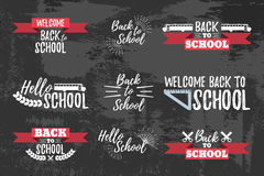Set of School Typographic - Vintage Style Back to School. Vector illustration Royalty Free Stock Image