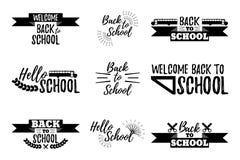 Set of School Typographic - Vintage Style Back to School. Vector illustration Stock Photo