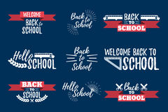 Set of School Typographic - Vintage Style Back to School. Vector illustration Royalty Free Stock Photo