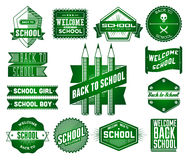 Set of School vintage labels Stock Photography