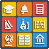 Set of 9 school web and mobile icons. Vector. Royalty Free Stock Photography