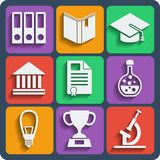 Set of 9 school web and mobile icons. Vector. Royalty Free Stock Photos