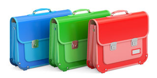 Set of schoolbags, briefcases. 3D rendering Royalty Free Stock Images