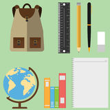 A set of schoolboy, globe, backpack, textbooks, pencils Stock Photos