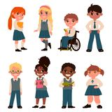 Set of schoolchildren characters isolated on white background. School uniform. Vector illustration stock photo