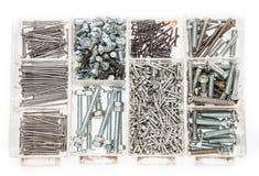 Set Schrauben und Nägel auf Weiß Lizenzfreie Stockbilder
