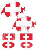 set schweizare för flagga Fotografering för Bildbyråer