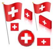 set schweizare för flagga Arkivbilder