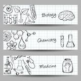 Set of Science Banners Stock Images