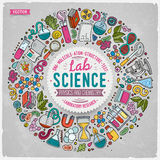 Set of Science cartoon doodle objects, symbols and items Stock Image