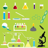 Set of Science Chemicals Research and Experiment Laboratory Vectors and Icons Royalty Free Stock Images
