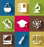Set of science and education flat icons Stock Images