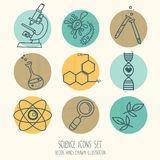 Set of science icons in hand drawn cartoon style Stock Image