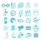 Set of scientific icons. Set of 25 line icon with scientific research symbols and silhouettes Stock Photo