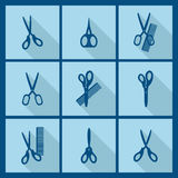Set with scissors with comb icons. Stock Images