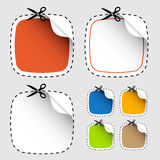Set of scissors cutting stickers Royalty Free Stock Photo