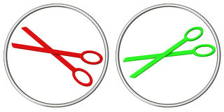 Set of scissors icons 3d Stock Photos