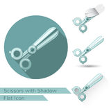 Set of scissors icons in flat style with different shadow. oval shadow, long shadow and lock icon folded corner Stock Photography