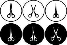 Set of scissors in round frame Royalty Free Stock Photo
