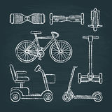 Set of scooter and bike sketches on chalkboard Stock Photography