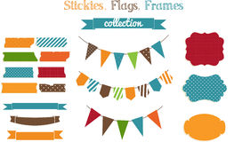 Set of scrap-booking bright stickies,flags and fra Royalty Free Stock Image