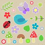 Set of scrapbook elements. Animals, nature, buttons for your design Royalty Free Stock Photo
