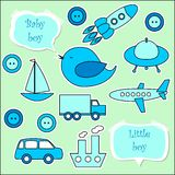 Set of scrapbook elements for baby boy Stock Photo