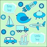 Set scrapbook elementy dla chłopiec Zdjęcie Stock