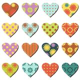 Set with scrapbook hearts on white background Royalty Free Stock Images