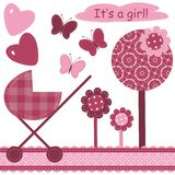 Set with scrapbook object for newborn girl Stock Photography
