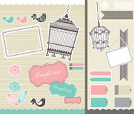 Set for scrapbooking with birdcage and frames Stock Photography