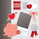 Set of scrapbooking elements. Set of red scrapbooking elements, vector set Royalty Free Stock Images