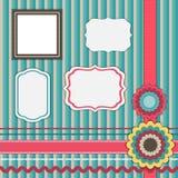 Set for scrapbooking, frames, ribbons, flowers vector illustration