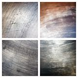 Set of scratched grunge metal textures Stock Photo