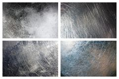 Set of scratched grunge metal textures Stock Image