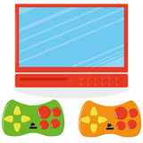 Set Of Screen And Two Joysticks Royalty Free Stock Photo