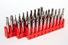 Set of screw bits Stock Photos