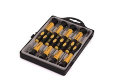 Set of screw-drivers. For exact works in a plastic case stock photography