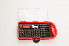 Set of screw-drivers in a box stock photography