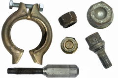 Set Screw heads, T-bolt clamp, bolts isolated Royalty Free Stock Photos