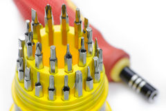 Set of screwdriver heads Royalty Free Stock Photo