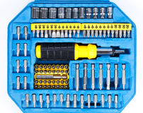 Set of screwdriver heads and extensions Stock Images