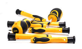 Set of screwdrivers with yellow and black handle Stock Images