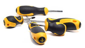 Set of screwdrivers with yellow and black handle Royalty Free Stock Images