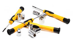 Set of screwdrivers with yellow handle Stock Images