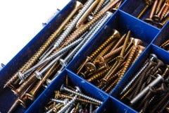 Set screws in box. Set screws in blue box Royalty Free Stock Photo